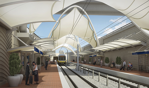 Digital rendering of rail waiting platform